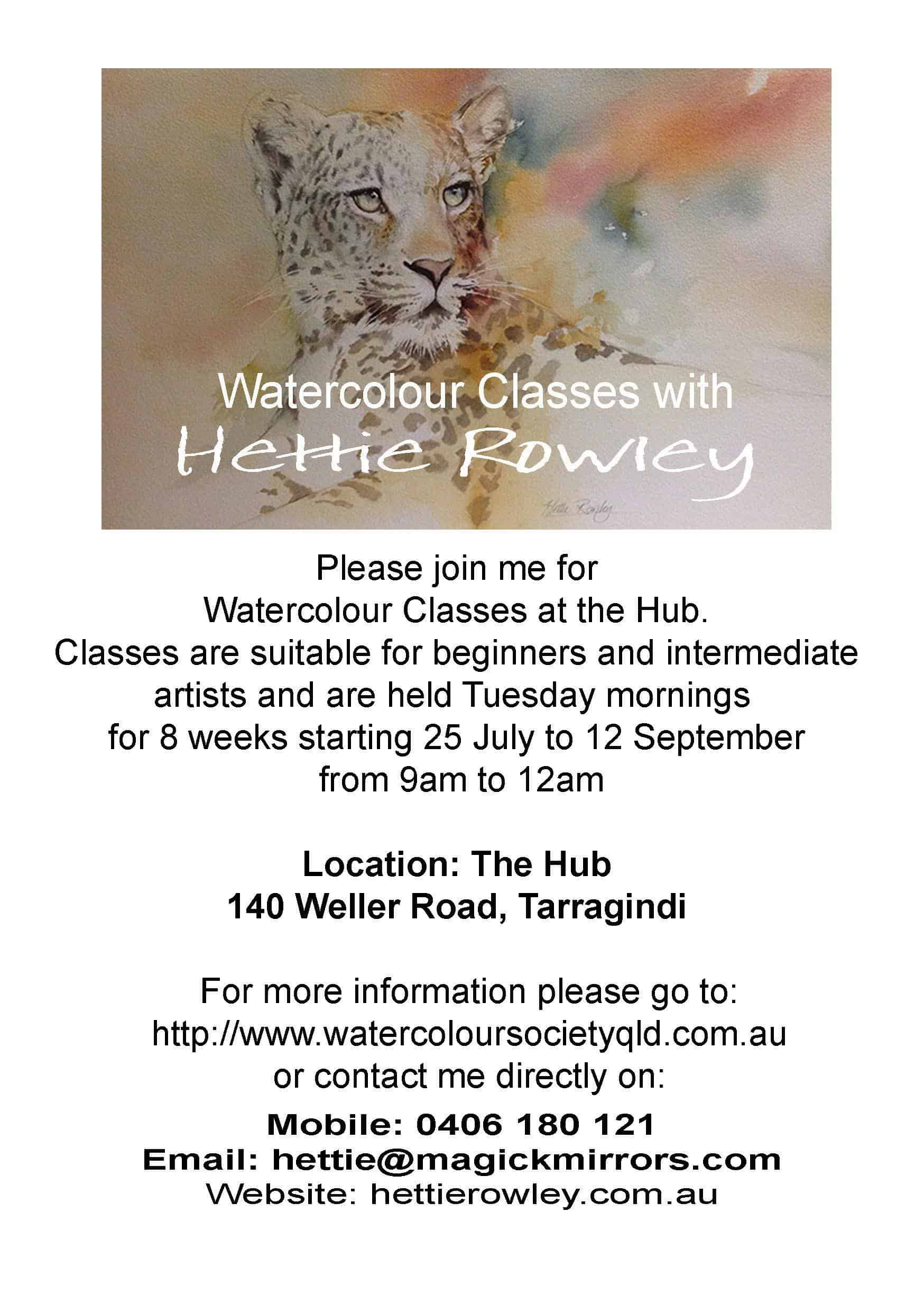 Flyer for 3rd term watercolour classes